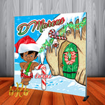 African American Bamm Bamm Flintstones Christmas Party Backdrop Personalized Step & Repeat - Designed, Printed & Shipped!
