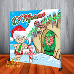 Bamm Bamm Flintstones Christmas Party Backdrop Personalized Step & Repeat - Designed, Printed & Shipped!