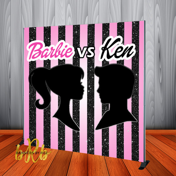Barbie vs Ken Gender Reveal Backdrop Personalized Step & Repeat - Designed, Printed & Shipped!