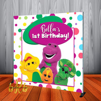 Barney Birthday Party  Backdrop Personalized Step & Repeat - Designed, Printed & Shipped!