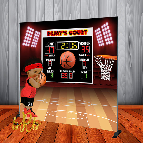 Basketball Baby Jordon Scoreboard Backdrop Personalized Step & Repeat - Designed, Printed & Shipped!