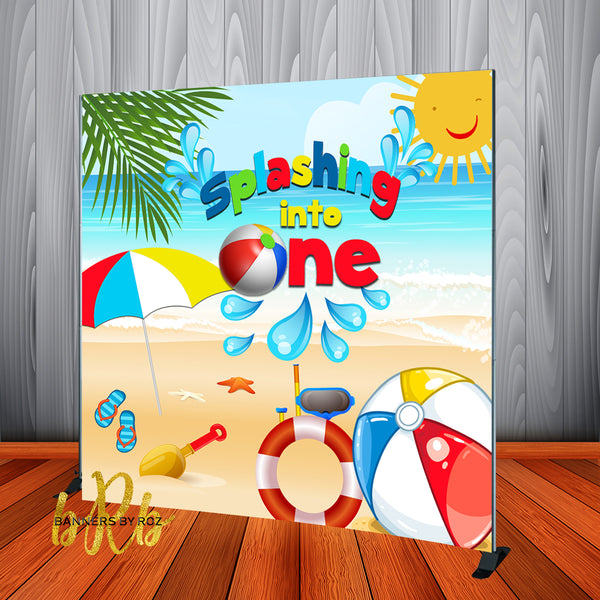 Beach Theme Party Birthday Backdrop Personalized Step & Repeat - Designed, Printed & Shipped!