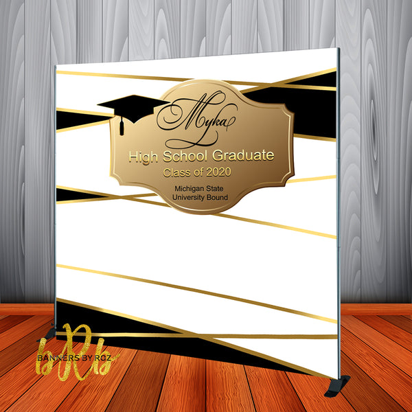 Graduation Backdrop Black & Gold - Personalized - Step & Repeat - Designed, Printed & Shipped!
