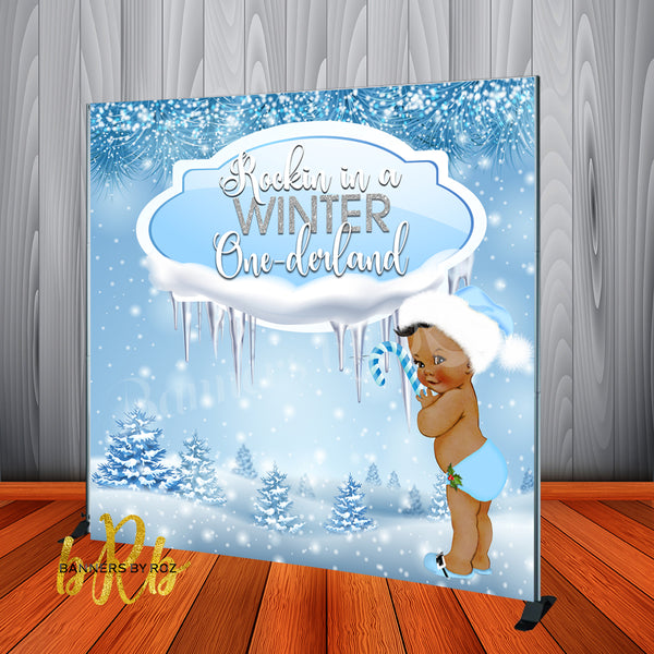 Winter One-derland Blue Backdrop Personalized for 1st Birthday or Baby Shower  - Designed, Printed & Shipped!