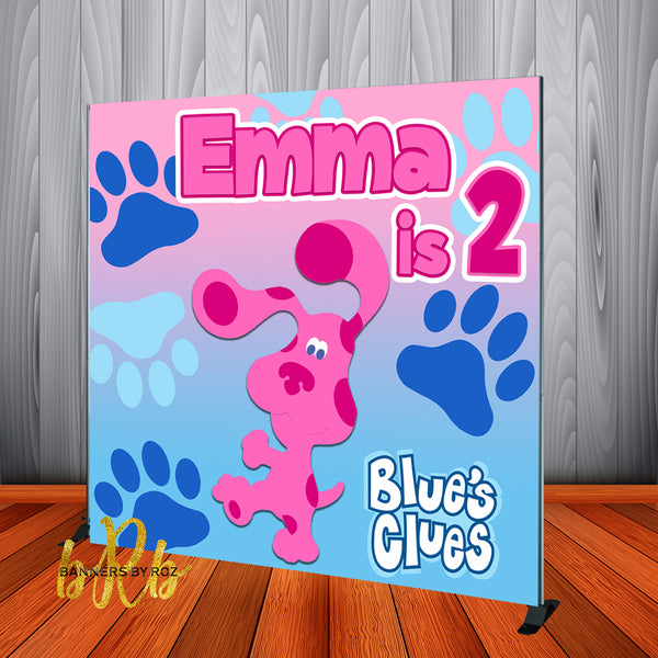 Blue's Clues Magenta Girls theme Backdrop Personalized Step & Repeat - Designed, Printed & Shipped!