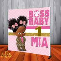 Boss Baby Pink Gucci Backdrop Africa American Personalized Printed & Shipped!