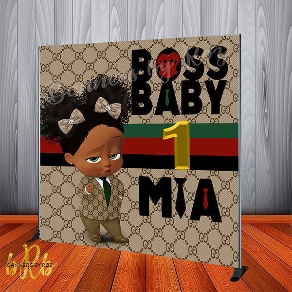 Boss Baby Gucci Birthday Backdrop Africa American Personalized Printed & Shipped!