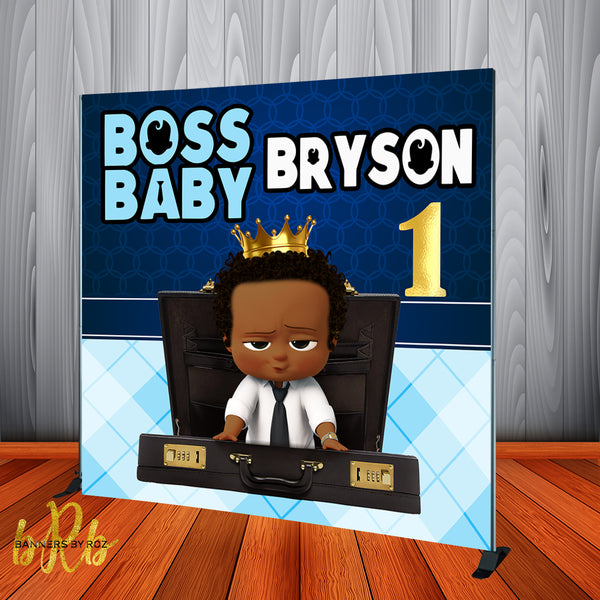 Boss Baby Blue Backdrop Africa American Personalized Step & Repeat - Designed, Printed & Shipped!