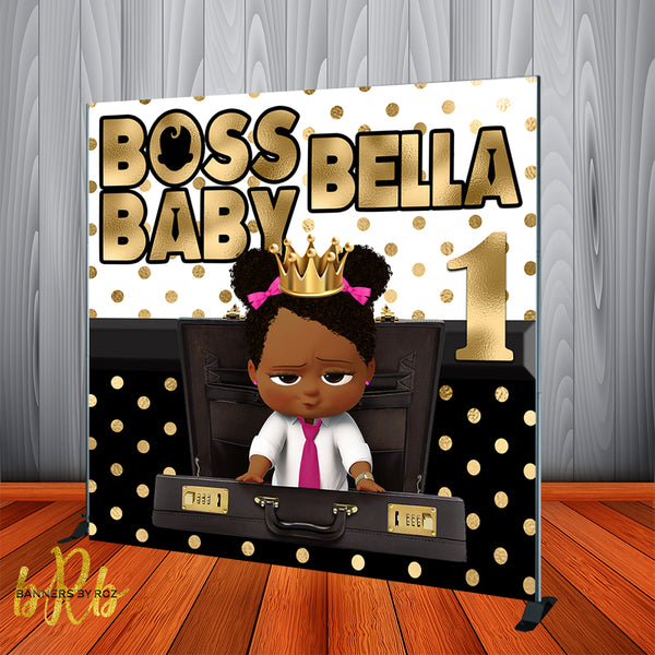 Boss Baby Black and Gold Backdrop Africa American Personalized Printed & Shipped!