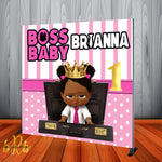 Boss Baby Pink Backdrop Africa American Personalized Step & Repeat - Designed, Printed & Shipped!