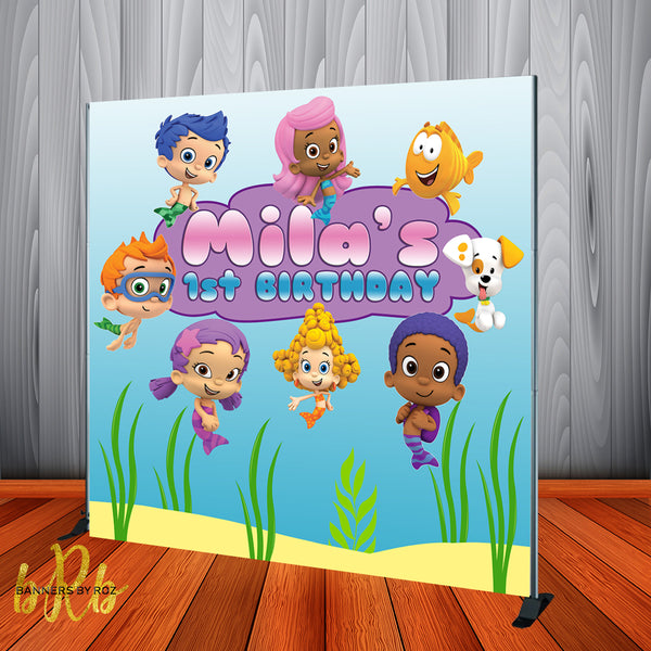 Bubble Guppies Pink Birthday Party Backdrop Personalized Printed & Shipped!