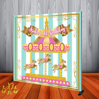 Carousel Birthday Party Backdrop Personalized Step & Repeat - Designed, Printed & Shipped!