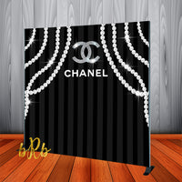 Chanel Pearls  Backdrop - Step & Repeat - Designed, Printed & Shipped!