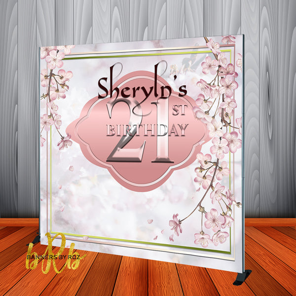 Japanese Cherry Blossom Backdrop - Step & Repeat - Designed, Printed & Shipped!