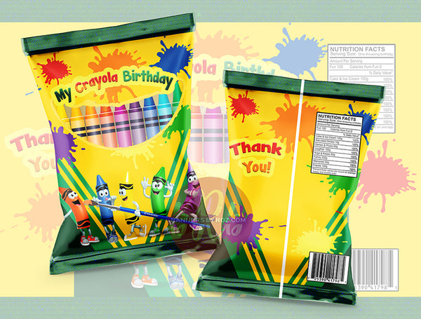 Crayola Paint Party Chip Bag - Digital File