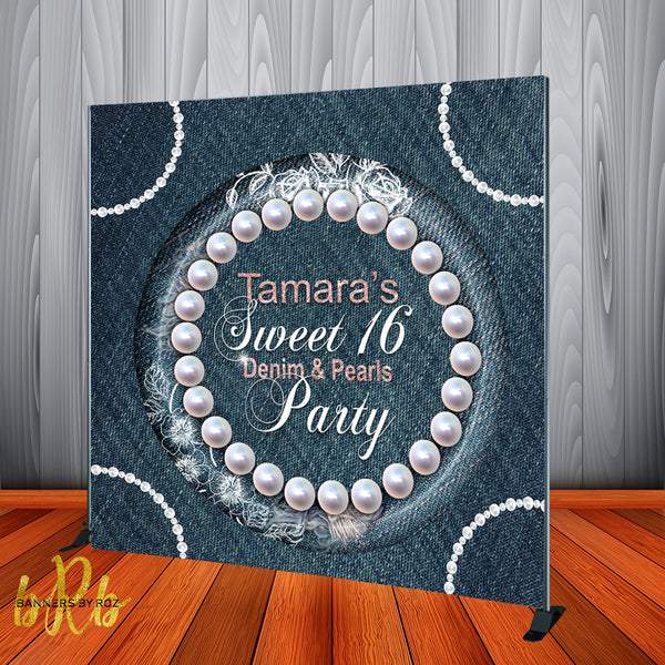 Denim & Pearls Backdrop - Personalized - Step & Repeat - Designed, Printed & Shipped!