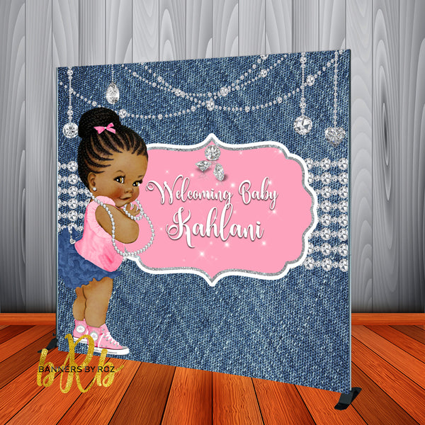 Denim and Diamonds Pink Baby Shower Backdrop Personalized - Designed, Printed & Shipped!