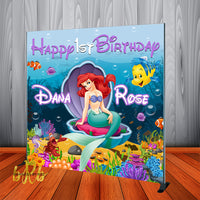 Disney's Little Mermaid theme Backdrop Personalized Step & Repeat - Designed, Printed & Shipped!