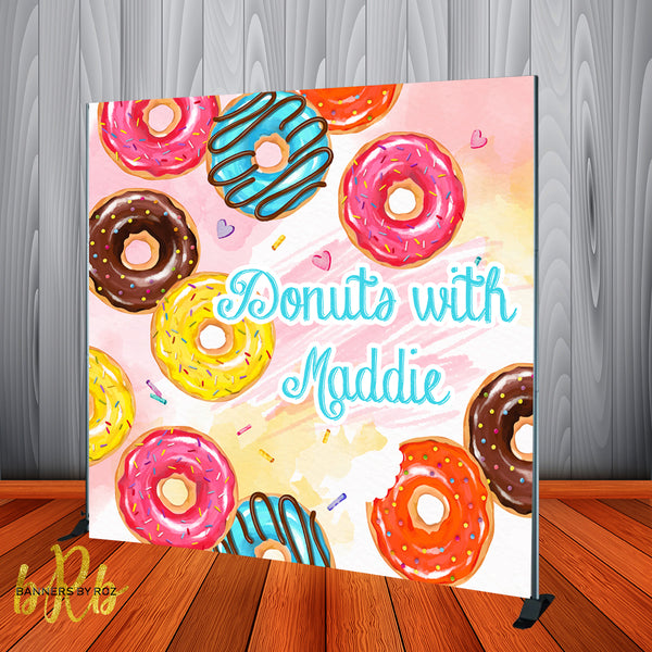 Donuts Theme Backdrop Personalized Step & Repeat - Designed, Printed & Shipped!