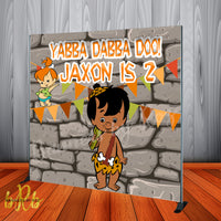 African American Bamm Bamm Flintstones Party Backdrop Personalized - Designed, Printed & Shipped