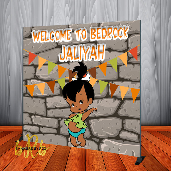 Pebbles African American -  Flintstones Party Backdrop Personalized Printed & Shipped!