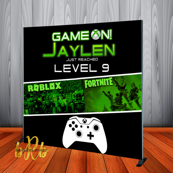Game On Fornite & Roblox XBox Video Game  theme Birthday Backdrop Personalized Step & Repeat - Designed, Printed & Shipped!