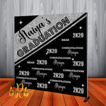 Graduation Backdrop Black & Silver - Personalized - Step & Repeat - Designed, Printed & Shipped!