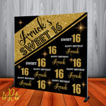 Birthday Black and Gold Step and Repeat Backdrop - Designed, Printed & Shipped!