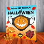 Halloween Party Mask Up Backdrop Personalized - Designed, Printed & Shipped!
