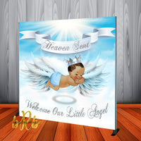 Heaven Sent Baby Shower - Boy Backdrop Personalized Step & Repeat - Designed, Printed & Shipped!