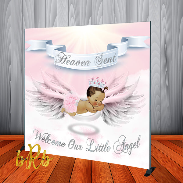 Heaven Sent Baby Shower - Girl Backdrop Personalized Step & Repeat - Designed, Printed & Shipped!