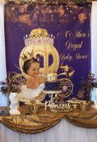 Purple Princess Backdrop Personalized Step & Repeat - Designed, Printed & Shipped!