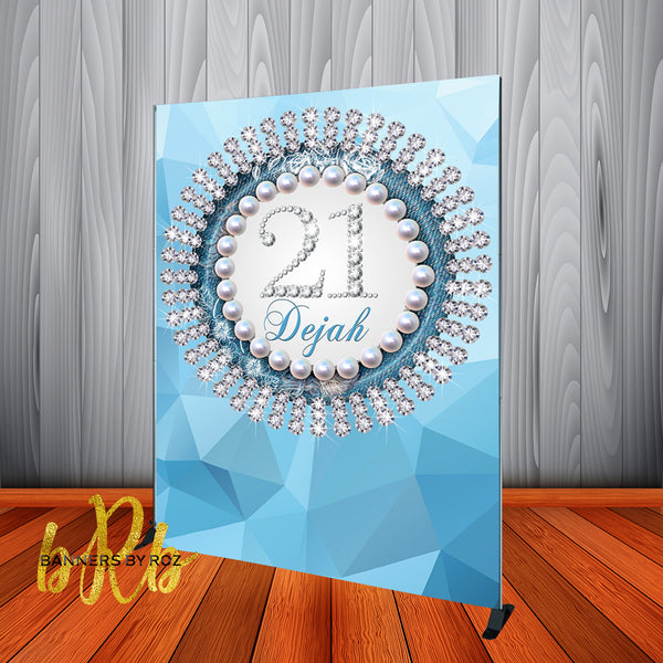 Icy Blue Denim Diamonds & Pearls Backdrop - Personalized - Step & Repeat - Printed & Shipped!