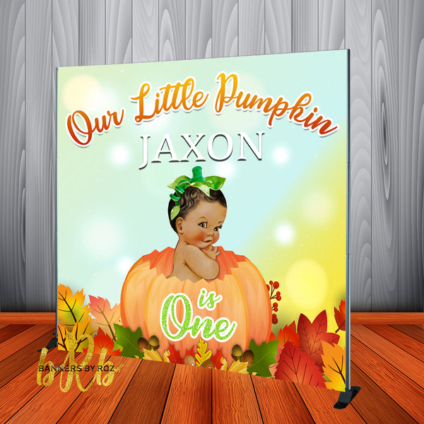 Little Pumpkin Baby Boy Halloween Birthday Backdrop Personalized - Designed, Printed & Shipped!