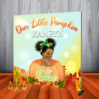 Little Pumpkin Baby Girl Halloween Birthday Backdrop Personalized - Designed, Printed & Shipped!