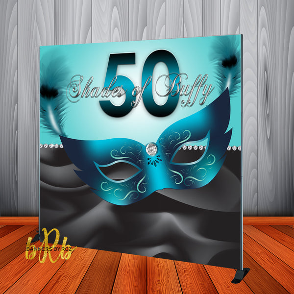 Turquoise & Black Masquerade Backdrop - Step & Repeat - Designed, Printed & Shipped!