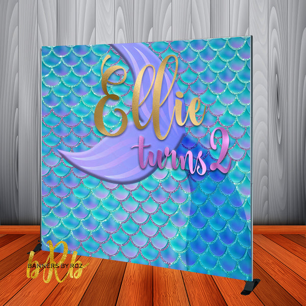 Mermaid theme Backdrop Personalized Step & Repeat - Designed, Printed & Shipped!