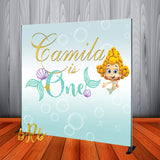 Bubble Guppies Mermaid 1st Birthday Backdrop Personalized - Designed, Printed & Shipped!