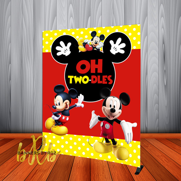 Mickey Mouse Two-dles Birthday Backdrop Personalized Step & Repeat - Designed, Printed & Shipped!