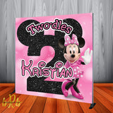 Minnie Mouse Two-dles Birthday Backdrop Personalized Step & Repeat - Designed, Printed & Shipped!