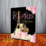 Paris Inspired Baby Shower Backdrop Personalized, Printed & Shipped!