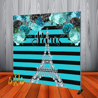 Paris Inspired Backdrop Personalized Step & Repeat - Designed, Printed & Shipped!