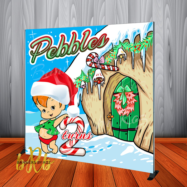 Pebbles Flintstones Christmas Party Backdrop Personalized Printed & Shipped!