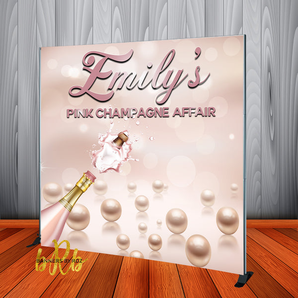 Pink Champagne Affair Party Backdrop - Step & Repeat - Designed, Printed & Shipped!