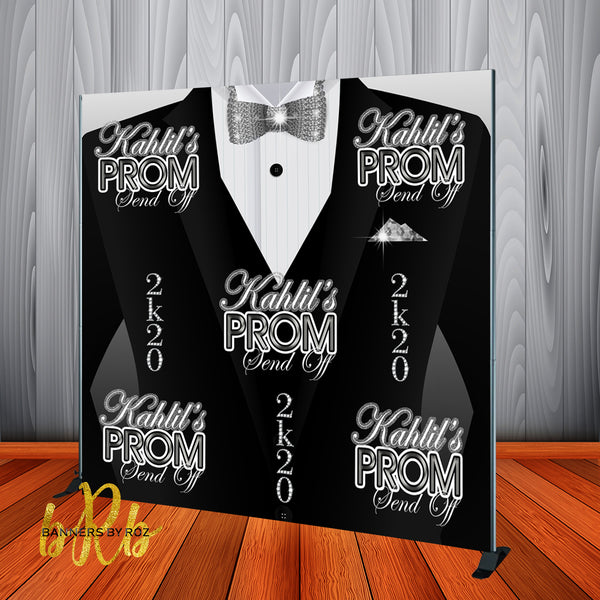 Tuxedo Prom Send Off Backdrop - Personalized - Step & Repeat - Designed, Printed & Shipped!