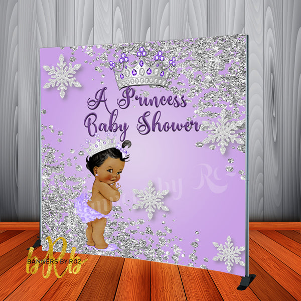 Royal Princess Lavender Baby Shower Backdrop Personalized Step & Repeat - Designed, Printed & Shipped!