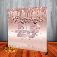Rose Gold Bling Backdrop for Birthdays - Sweet 16 Birthday, Prom - Personalized, Printed & Shipped!