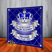 Royal Prince Baby Shower Silver Backdrop Personalized Step & Repeat - Designed, Printed & Shipped!