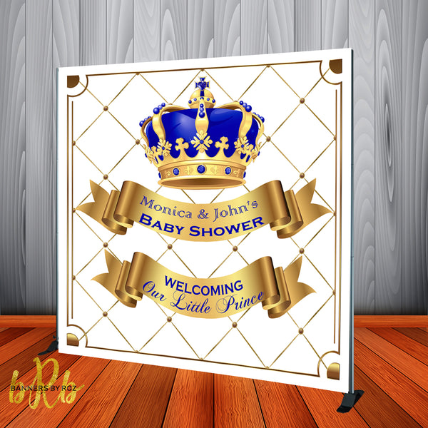 Royal Prince Baby Shower Backdrop Personalized Step & Repeat - Designed, Printed & Shipped!