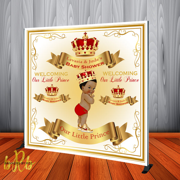 Royal Prince Red Crown Baby Shower Backdrop Personalized - Designed, Printed & Shipped!